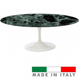 TULIP TABLE EERO SAARINEN OVAL WITH GREEN ALPINE MARBLE