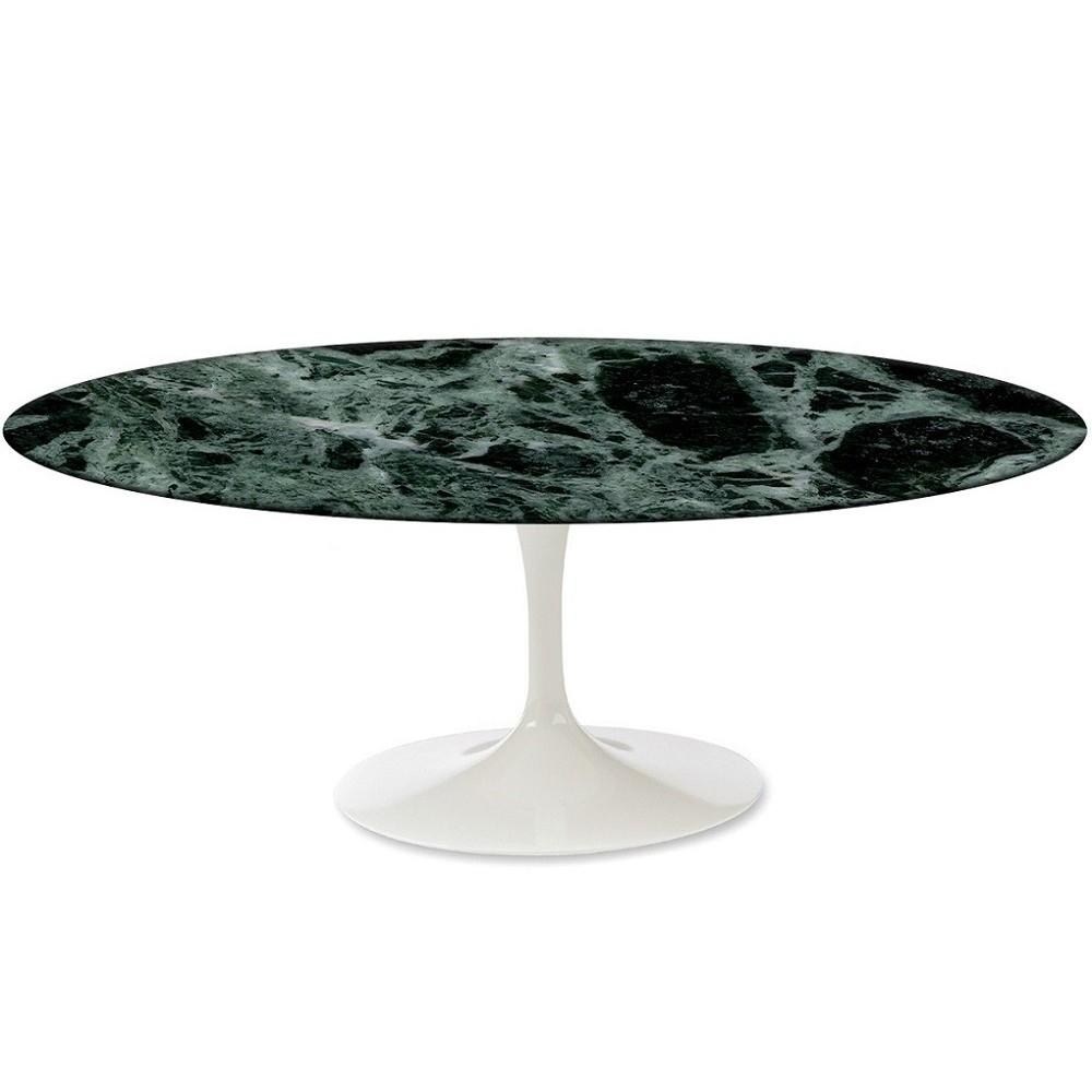 Tavolo saarinen ovale con piano in marmo verde alpi - Tavolo ovale marmo bianco ...