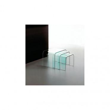 Set 3 tavolini cristallo curvato mod. Trino